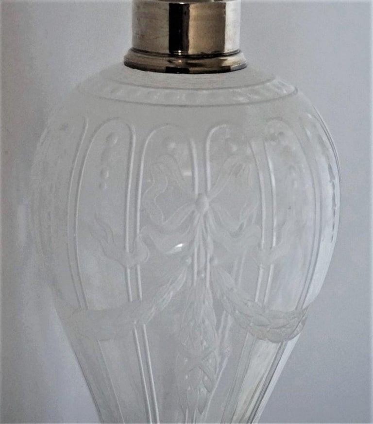 French Art Deco Crystal High Releaf Engraved Perfume Bottle, Sterling Silver For Sale 2