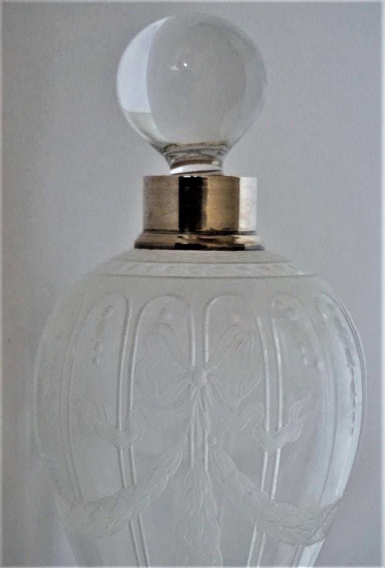 French Art Deco Crystal High Releaf Engraved Perfume Bottle, Sterling Silver For Sale 4