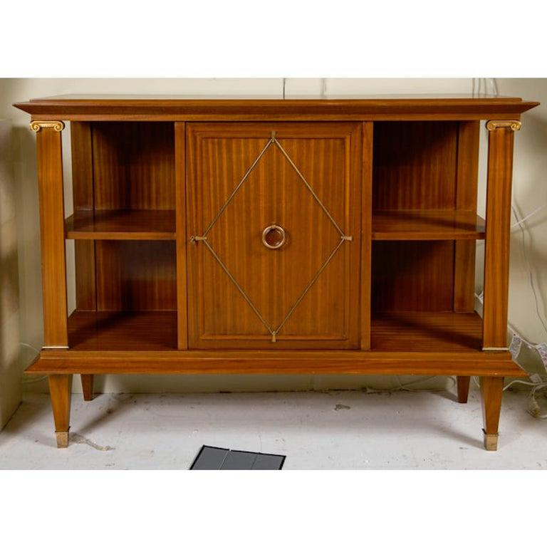 Metalwork French Art Deco Cuban Mahogany Sideboard Cabinet by Pierre Lardin, circa 1940s For Sale