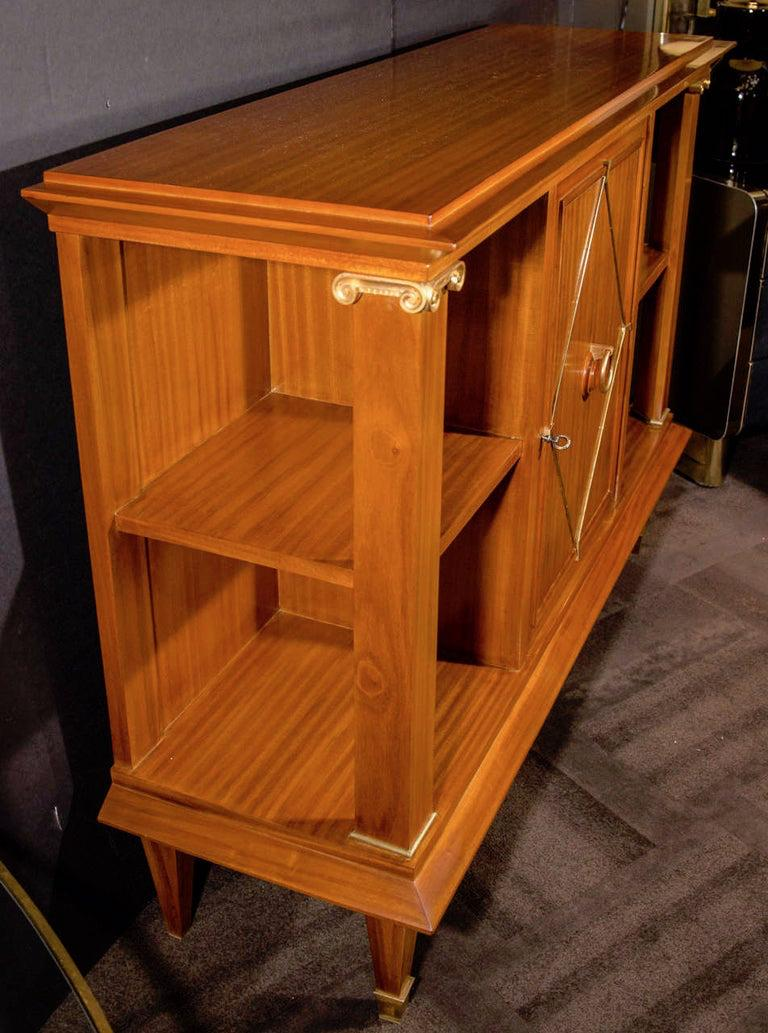 French Art Deco Cuban Mahogany Sideboard Cabinet by Pierre Lardin, circa 1940s In Good Condition For Sale In Miami, FL