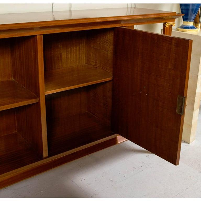 Brass French Art Deco Cuban Mahogany Sideboard Cabinet by Pierre Lardin, circa 1940s For Sale