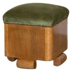 French Art Deco Cube Ottoman