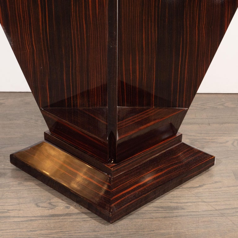 Mid-20th Century French Art Deco Cubist Occasional Table in Bookmatched Macassar For Sale