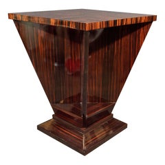 French Art Deco Cubist Occasional Table in Bookmatched Macassar