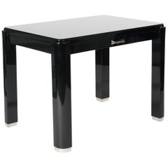 French Art Déco Cubistic Shaped Desk Black Lacquer with Re-Nickeled Hardware