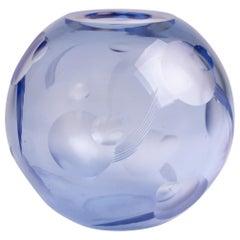 French Art Deco Cut Blue Crystal Globe Vase