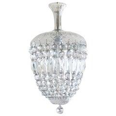 French Art Deco Cut Crystal Lantern or Chandelier, 1920-1929