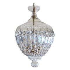French Art Deco Cut Crystal Three-light Lantern or Chandelier