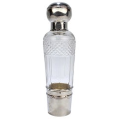 French Art Deco Cut Glass and Sterling Silver Liquor or Whiskey Flask by Chambin