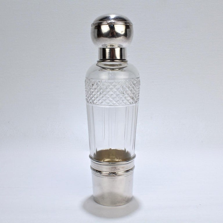 French Art Deco Cut Glass and Sterling Silver Liquor or Whiskey Flask by Chambin In Good Condition For Sale In Philadelphia, PA