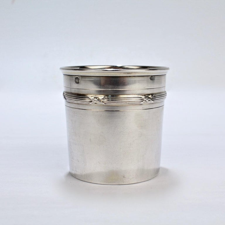 French Art Deco Cut Glass and Sterling Silver Liquor or Whiskey Flask by Chambin For Sale 1