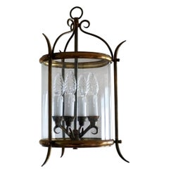 French Art Deco Cylindral Glass Four-Light Lantern Wrought Iron and Brass Mounts