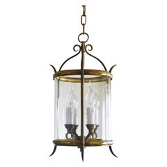 French Art Deco Cylindrical Glass Brass Wrought Iron Four-Light Lantern