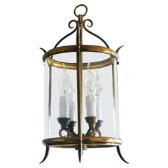 French Art Deco Glass Brass Wrought Iron Four-Light Lantern