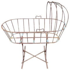 French Art Deco Decorative Iron Cot or Cradle with Canopy on Gentle Rockers