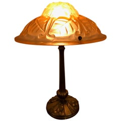 French Art Deco Degue Pink and Bronze Table Lamp
