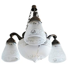 French Art Deco Degue Style Frosted Glass Four-Light Chandelier Brass Mounted