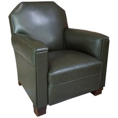 French Art Deco Design 1940s Green Forest Faux Leather and Wood Armchair