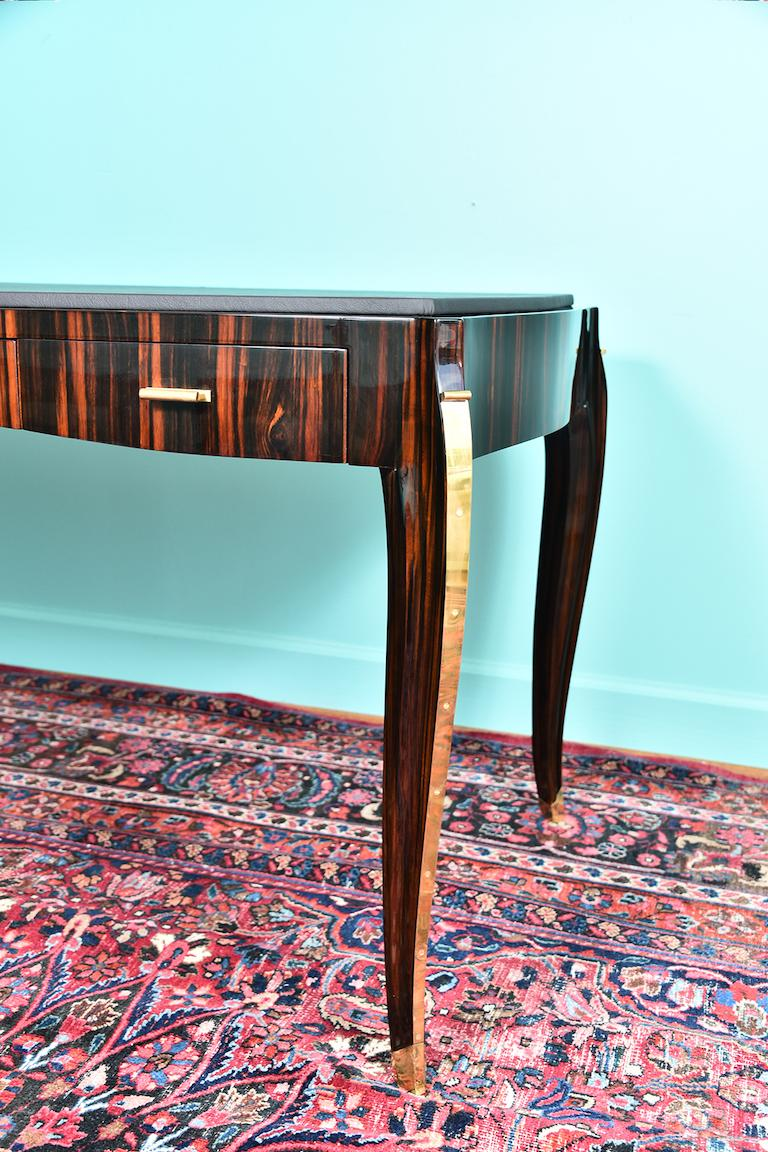 Brass French Art Deco Desk in Macassar with Leather Top For Sale