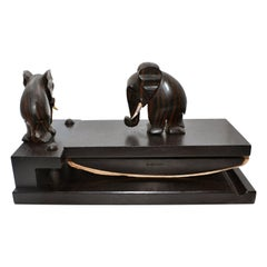 French Art Deco Desk Set in Macassar Ebony by Dan Karner, circa 1930
