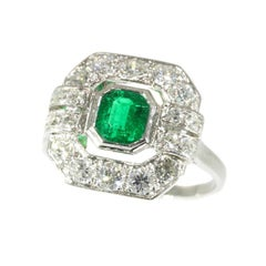 French Art Deco Diamond and .54 Carat Brazilian Emerald Platinum Engagement Ring