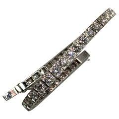 French Art Deco Diamond and Platinum Line Bracelet