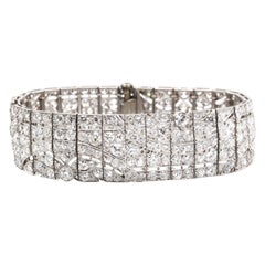 French Art Deco Diamond 'ca. 20 carats' Panel Bracelet, ca. 1920s