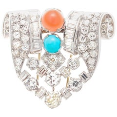 French Art Deco Diamond Coral Turquoise Platinum Brooch