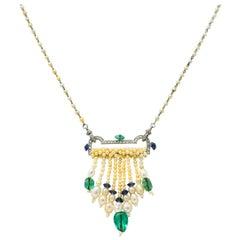 French Art Deco Diamond Natural Pearl Emerald Sapphire Platinum Sautoir Necklace