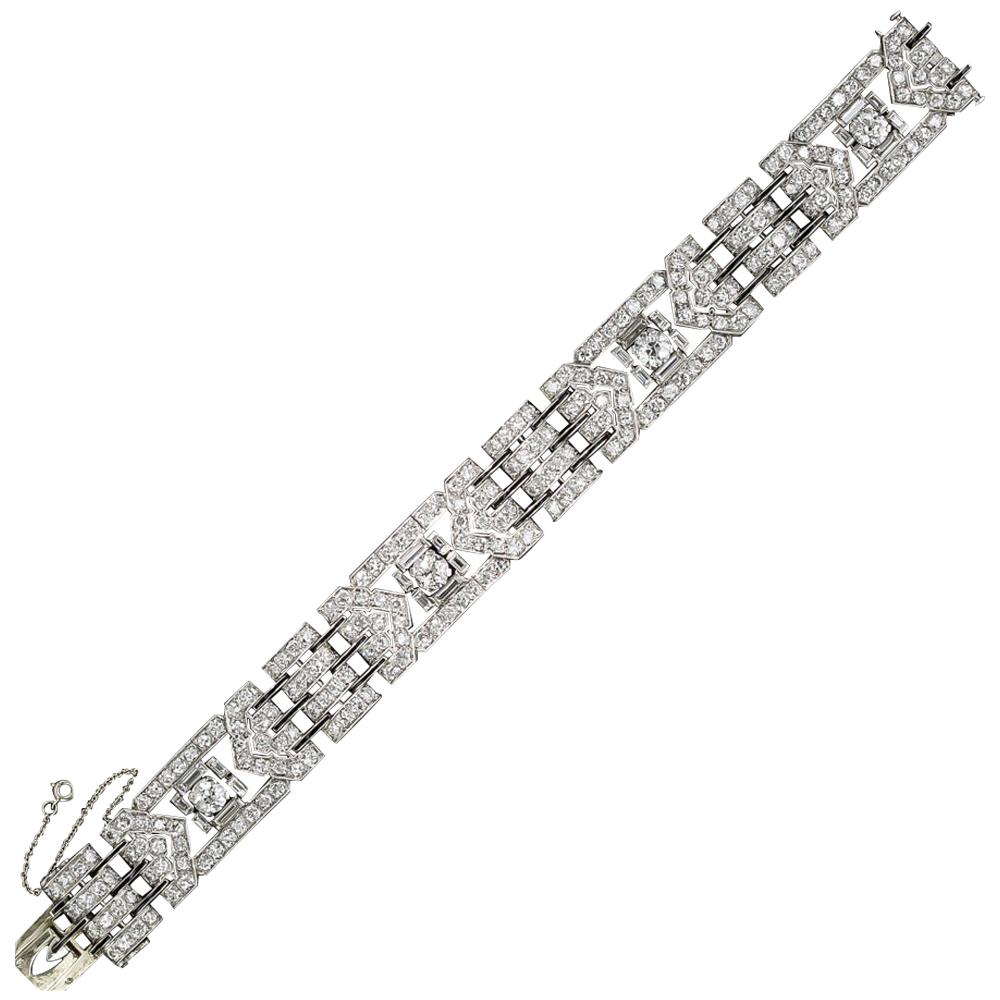 French Art Deco Diamond Platinum Black Enamel Bracelet