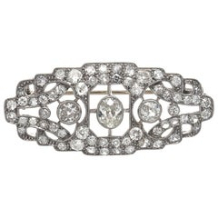 French Art Deco Diamond Platinum Brooch