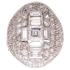 French Art Deco Diamond Platinum Cocktail Ring