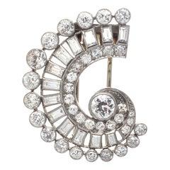 French Art Deco Diamond Platinum Gold Brooch