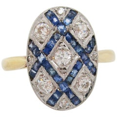 French Art Deco Diamond Sapphire Platinum on 18 Karat Gold Ring