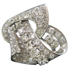 French Art Deco Diamond White Gold and Platinum Clip Brooch