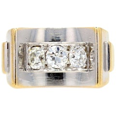 French Art Deco Diamonds 18 Karat Yellow White Gold Ring