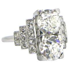 French Art Deco Diamonds Geometric Platinum Ring