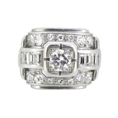 French Art Deco Diamonds Round and Baguette Platinum Ring