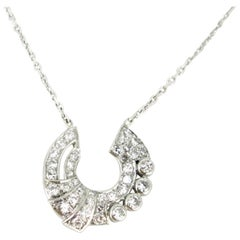 French Art Deco Diamonds White Gold Platinum Pendant Necklace