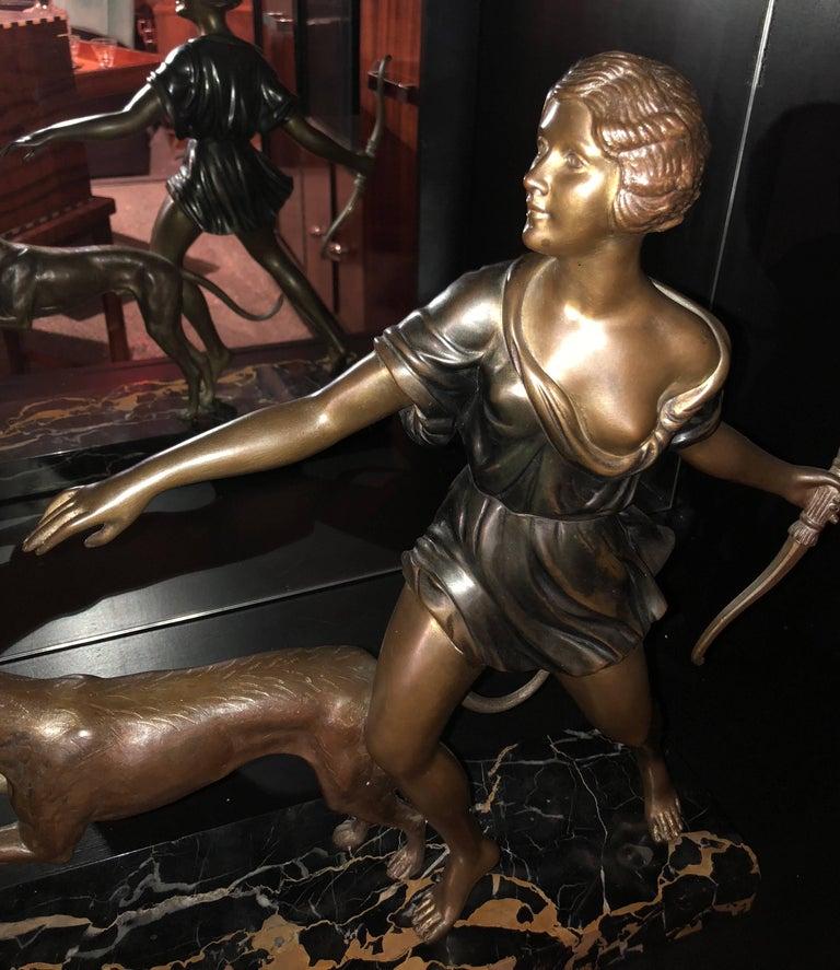 French Art Deco Diana Greyhound Bronze by Ignacio Gallo Sculpture For Sale 6