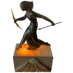 French Art Deco Diana the Huntress Lamp on Marble Base