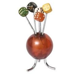 French Art Deco Dice Chrome and Bakelite Wood Cocktail Picks Forks Horderves Set