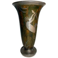 French Art Deco Dinanderie Metalware Vase Signed George