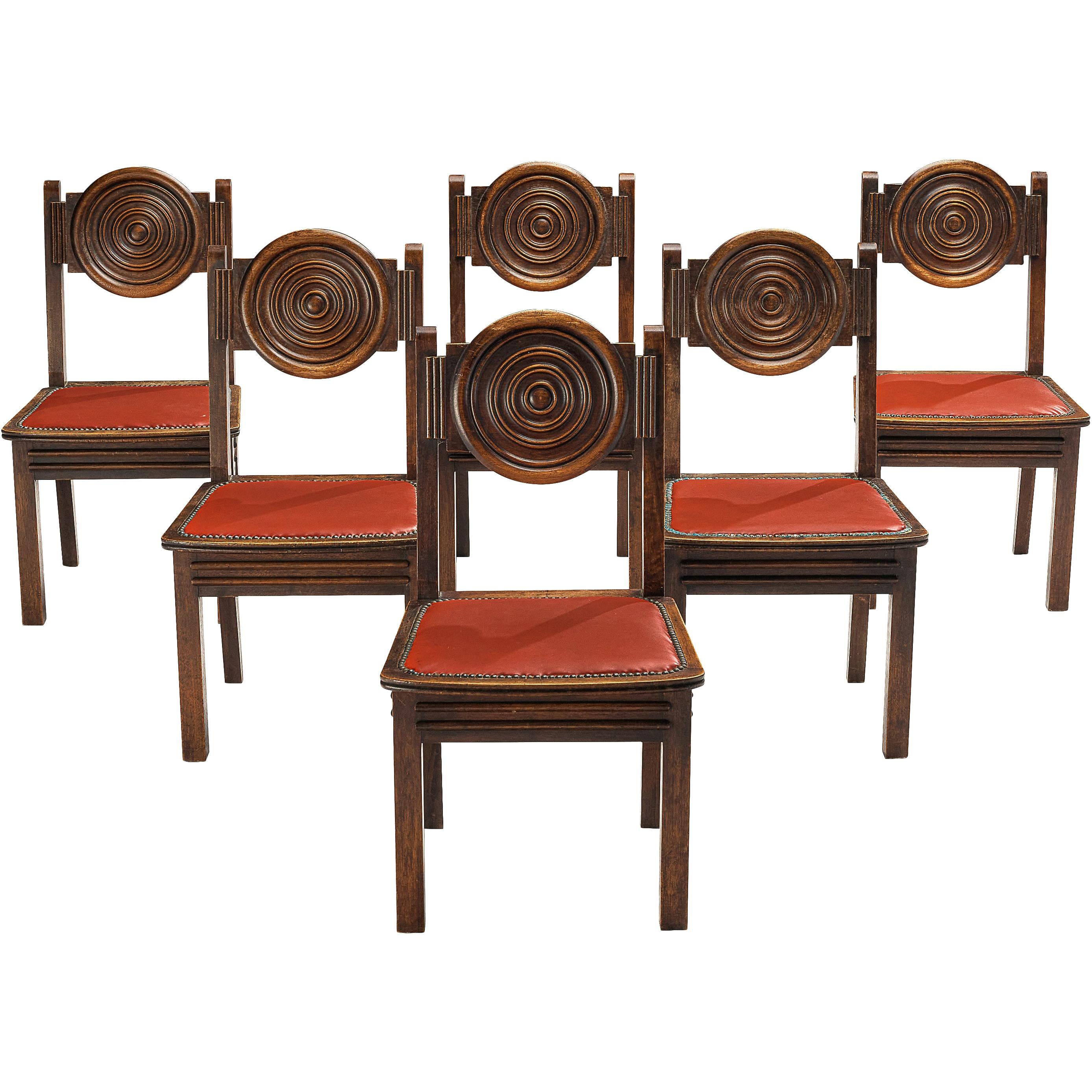French Art Deco Dining Chairs in Stained Oak and Red Leatherette