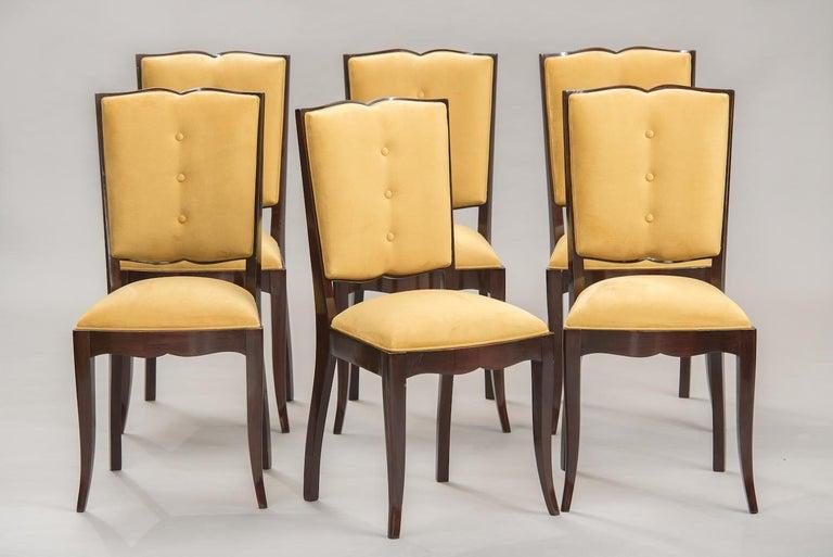 Set of 6 French Art Deco Moustache chairs, darkened wood reupholstered in mustard velvet.