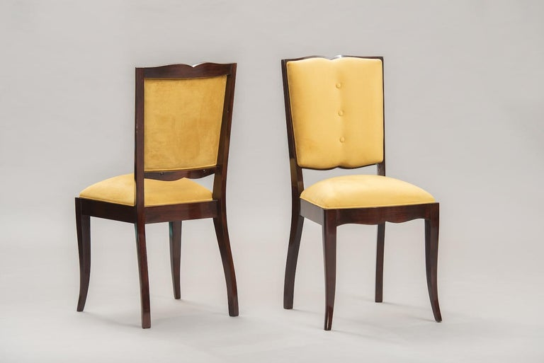 Varnished French Art Deco Dining Chairs, Set of Six For Sale