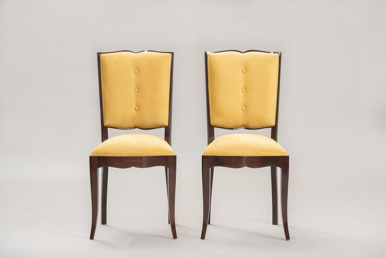 French Art Deco Dining Chairs, Set of Six In Excellent Condition For Sale In Porto, PT