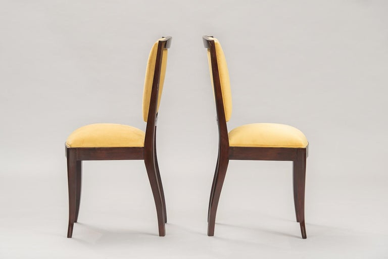 Mid-20th Century French Art Deco Dining Chairs, Set of Six For Sale