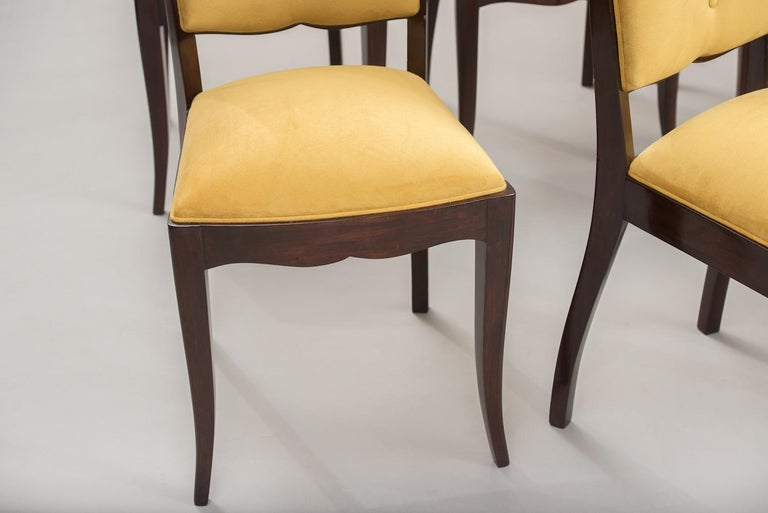 Wood French Art Deco Dining Chairs, Set of Six For Sale