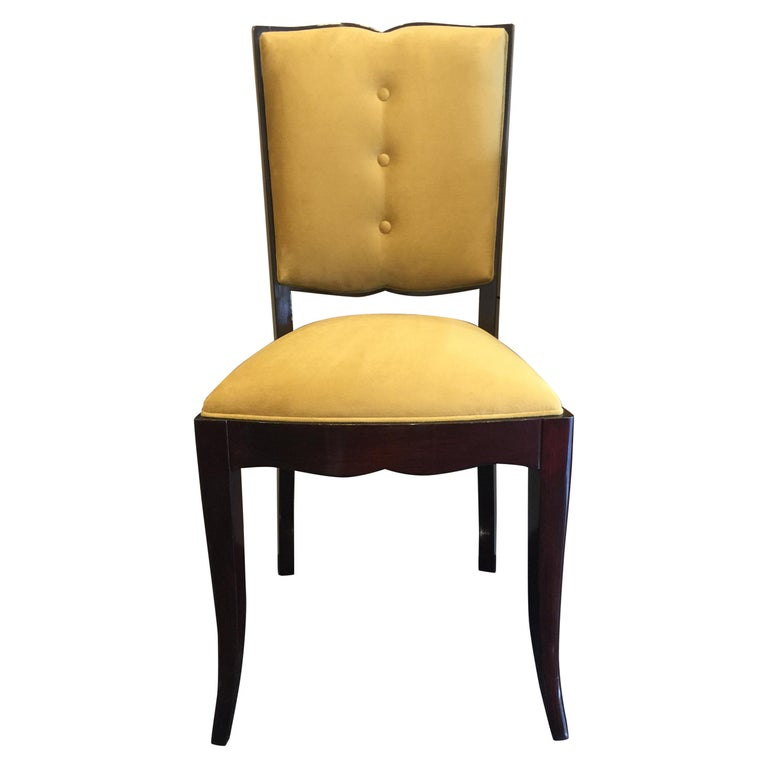 French Art Deco Dining Chairs, Set of Six For Sale
